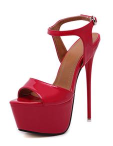 Красный Сексуальные туфли шпильках пятки заглянуть ног платформы сандалии для женщин