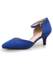 Décolleté in pelle scamosciata blu con tacco a punta di gattina e scarpe alla caviglia