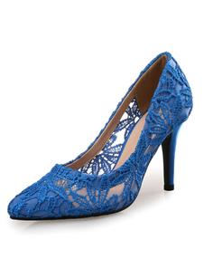 Rosa rossa matrimonio scarpe tacco alto donne pizzo punta Toe Slip On pompe nuziali