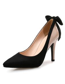 Zapatos de tacón de dos tonos con lazo