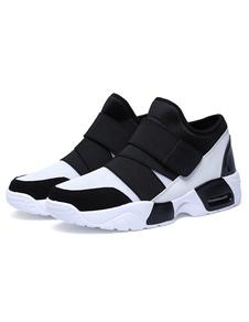 الرجال حذاء أبيض شبكة اثنين لهجة ضمادة الأحذية الرياضية