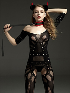 Sexy Bodystocking Lingerie Nero Sheer Net Women Off spalla a maniche corte da notte