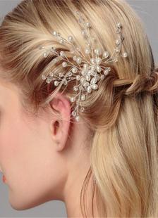 Casamento branco cabelo Pin pérolas frisada Headpiece nupcial