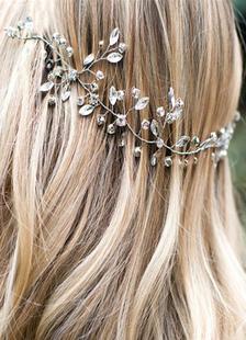Acessórios de cabelo nupcial do boho casamento Headpieces prata praia Headband strass fita