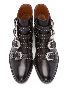 Black Ankle Boots Motorcycle Boots Size US 4-12 Cowhide Round Toe Rivets Buckle Detail Booties