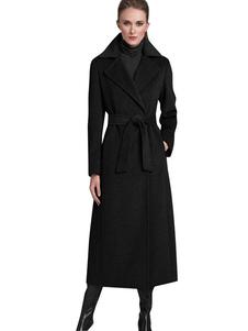 Casaco de lã casaco preto com palangre feminino envolvimento adelgaçante apto para o inverno