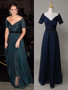 Кейт Миддлтон темное темно-синее платье Off Shouler