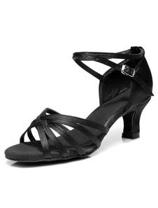Zapatos baile latino Satin Criss Cross Zapatos de salón para mujeres