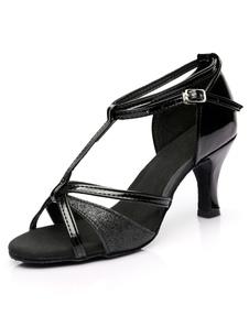 Блестящие бальные туфли Black Open Toe T Тип ремешка для лодыжки Латинская обувь для танцев