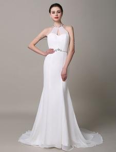 Слоновой кости свадебное платье недоуздок Русалка спинки Rhinestone шифон свадебное платье