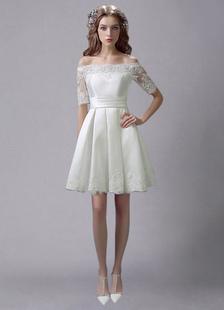 Слоновой кости свадебное платье до колен Off-плечи Sash атласная свадебное платье