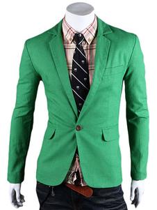 Giacca Casual 2020 Verde Blazer con Colletto a Tinta Unita Giacca da Uomo con Un Bottone