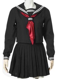 黒い制服ネクタイ プリーツ ストライプ コットン ブレンド コスチューム ハロウィン