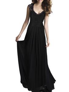 Vestido largo negro  Moda Mujer de raya ondulada sin mangas Vestidos de chifón de corte ajustada de encaje con cuello en V Primavera