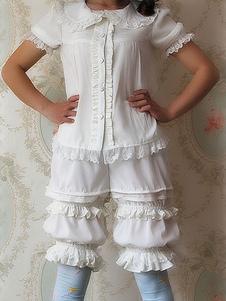 Pantaloncini Lolita neri bianchi Infanta Lolita Bloomer Shirring Lace Trim Ruffles Trim