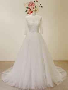 Vestido de noiva Qulity elevado A linha atado Applique Chaple trem vestido nupcial