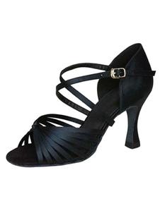 أحذية الرقص اللاتينية السوداء المفتوحة تو كريسس الصليب أحذية رقص السالسا أحذية