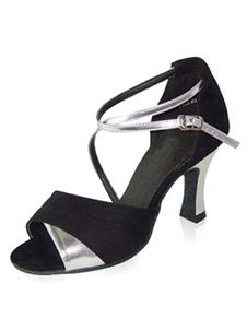 Scarpe da ballo latino per donna in camoscio con tacchi grossi alti cinturini incrociati