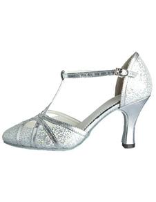 Серебряная танцевальная обувь Блеск Профессиональная латинская обувь для танцев Катушка для каблука