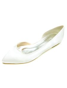 أحذية الزفاف العاج صقيل أشار تو الانزلاق على مضخات الأحذية المسطحة الأم 2020