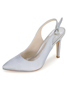 Pointed Toe Satin Evening and Bridal Sandals