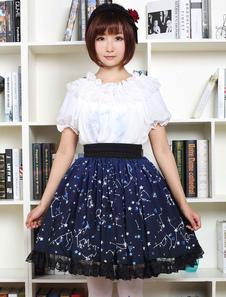Azul Lolita Vestido dulce constelación impreso Lolita falda de encaje negro de corte