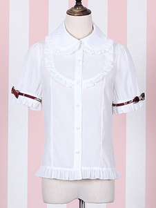 80094e68dbb16 Lolitashow White Lolita Top Ruffled Round Collar Lolita Blouse Cute Red ...