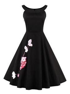 Pouco vestido preto vestido estampado Floral retrô com saIão
