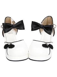 Branco Qi Lolita Chunky saltos sapatos estilo chinês vermelho/azul/rosa/preto botões arcos