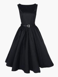 Jewel Neck Cotton Blend Women's Vintage Dress