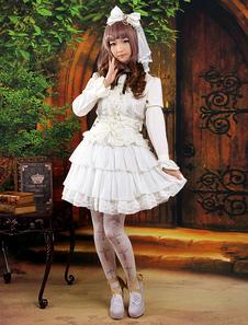 Branco doce babados saia de Chiffon Lolita