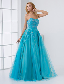 Vestido de noiva Lantejoula  azul da água querida Strapless  nupcial do laço Beading