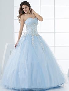 Vestidos de novia de la princesa Pastel azul vestido de quinceañera apliques de encaje cariño sin tirantes rebordear piso de tul vestido de novia
