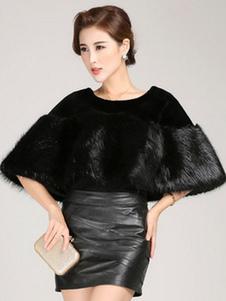 Scialle nero Trendy Faux Fur scialle acrilico per le donne