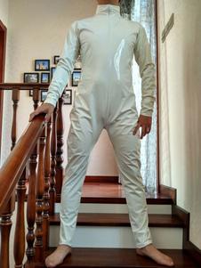 Белый ПВХ фронт открытого унисекс костюм Хэллоуин