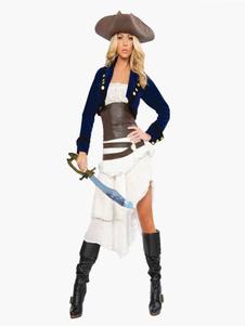 Мода мульти цвет двухцветный полиэстер сексуальный взрослых пиратский костюм Хэллоуин