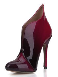 Высокий каблук пинетки красный женский Круглый Toe стилет короткие сапоги