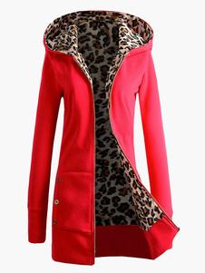 Moda leopardo Hoodie de mangas compridas algodão estampa Animal fibras mulher