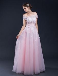 Praia casamento vestido do laço rosa Applique Off-a-ombro do assoalho-comprimento vestido de noiva