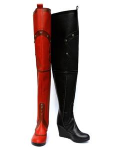 Бэтмен Аркхэм Убежище Харли Куинн Черный И Красный Костюм Косплей Обувь Хэллоуин