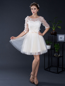 Pizzo Tulle breve Off-the-spalla mezze maniche Mini nuziale abito da sposa illusione Abito da Homecoming