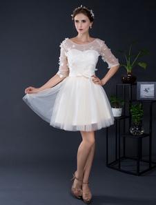 Кружева свадебное платье короткое тюль от плеча половина рукава мини свадебное платье онлайн иллюзия Homecoming платье