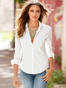 Larga blusa 2020 delgado de manga de algodón forma Retro mujeres