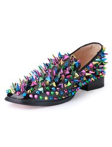 Черный Мужчины Loafers Подлинная Кожа Круглый Toe Slip On Prom Обувь Спайк Обувь