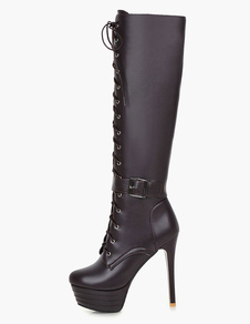 ロングブーツ ピンヒール レディースブーツ ラウンドトゥ ブラウン  靴の甲の素材:パテント PU シューズ 11cm 編み上げ ストリートウェア 3cm カジュアル レディース靴