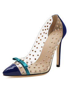 Blue High Heels Women Shoes Pointed Toe Bow Beaded Slip On Pumps