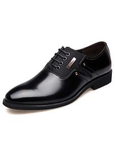 Laço de dedo apontado vestido preto, sapatos masculinos sapatos formais