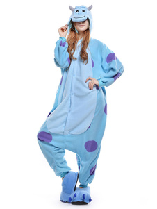 Sulley Onesie Kigurumi Pijamas para adultos Unisex Fleece Flannel Blue Anime Costume Halloween