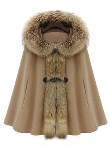 Abrigos Mujer Con Capucha De Gran Tamaño Cuello De Piel Sintética Abrigos De Poncho De Invierno