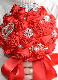 Casamento flores buquê cetim pérolas strass frisado Bouquet de noiva de mão atada em vermelho